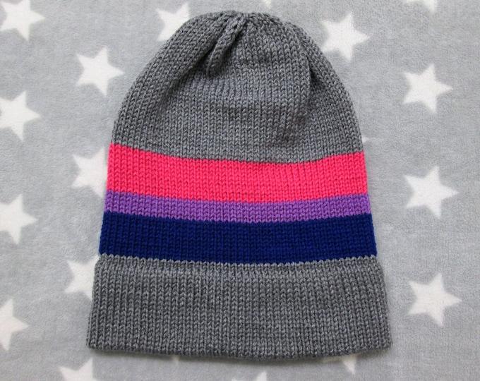 Knit Pride Hat - Bi Pride - Grey - Slouchy Beanie