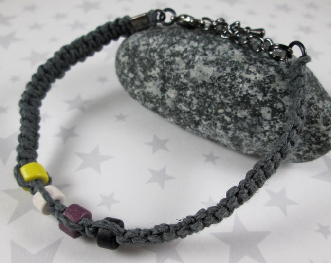 Hemp Pride Bracelet - Nonbinary Pride - Grey - Ceramic Beads