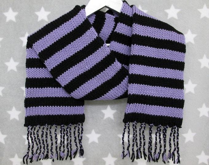 Knit Scarf - Lavender & Black Stripes