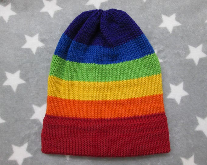 Knit Pride Hat - LGBT Rainbow - Wool Mohair Beanie - Red Brim