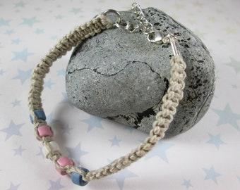 Hemp Pride Bracelet - Trans Pride - Tan - Ceramic Beads