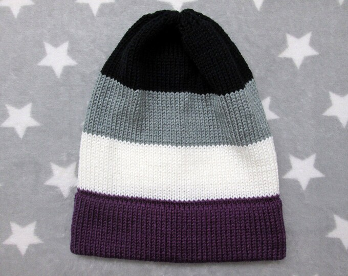 Knit Pride Hat - Ace Pride - Slouchy Beanie - Acrylic