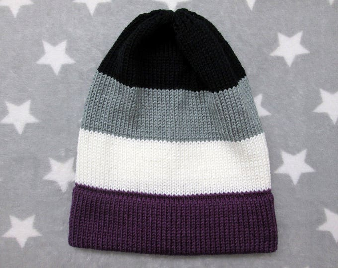 Knit Pride Hat - Ace Pride - Slouchy Beanie