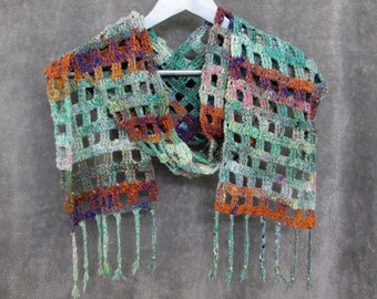Noro Windowpane Scarf - Greens Whites Purples Oranges