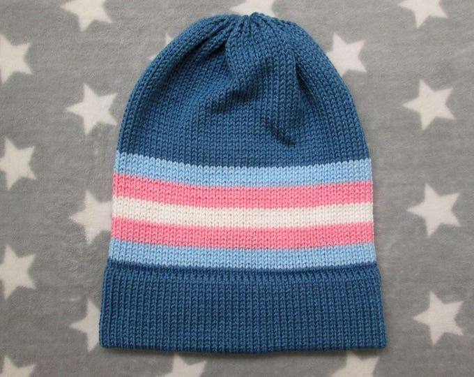 Knit Pride Hat - Trans Pride - Blue Slouchy Beanie - Acrylic