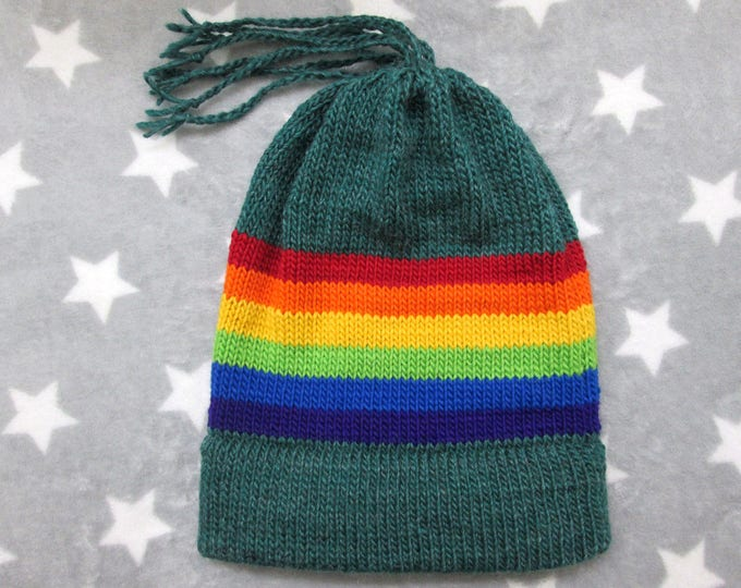 Knit Pride Hat - LGBT Rainbow - Green Wool Mohair Beanie