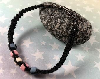 Hemp Pride Bracelet - Trans Pride - Black - Ceramic Beads