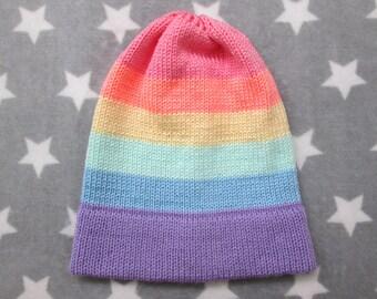 Knit Pride Hat - Pastel LGBT Rainbow - Slouchy Beanie - Acrylic