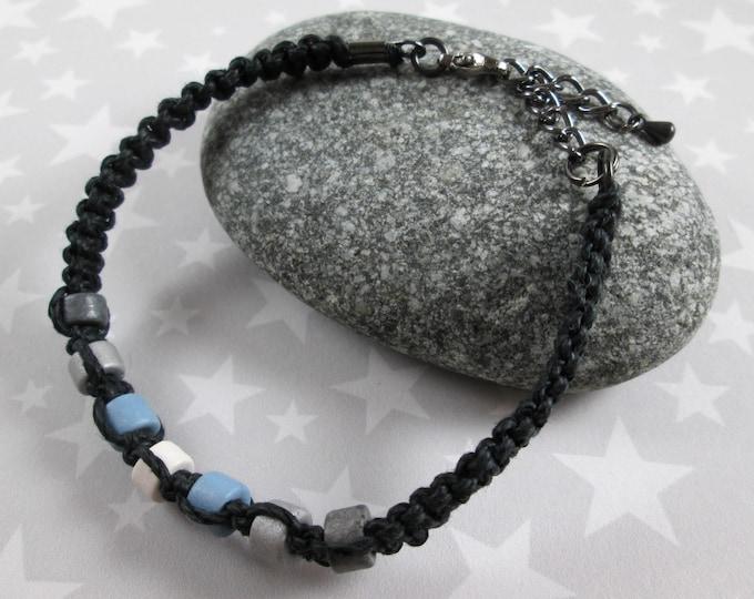 Hemp Pride Bracelet - Demiboy Pride - Black - Ceramic Beads
