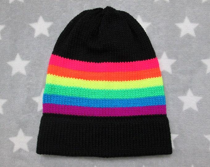 Knit Pride Hat - Neon LGBT Rainbow - Black - Slouchy Beanie