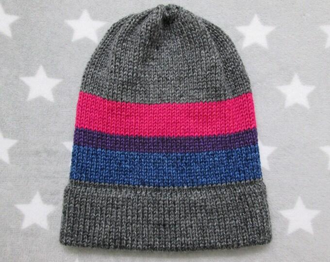 Knit Pride Hat - Bi Pride - Heathered Dark Grey - Slouchy Beanie
