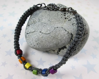Hemp Pride Bracelet - LGBT Rainbow Pride - Grey - Ceramic Beads