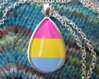 Pansexual Pride - Pan Pride Flag Pendant Necklace - Silver Teardrop
