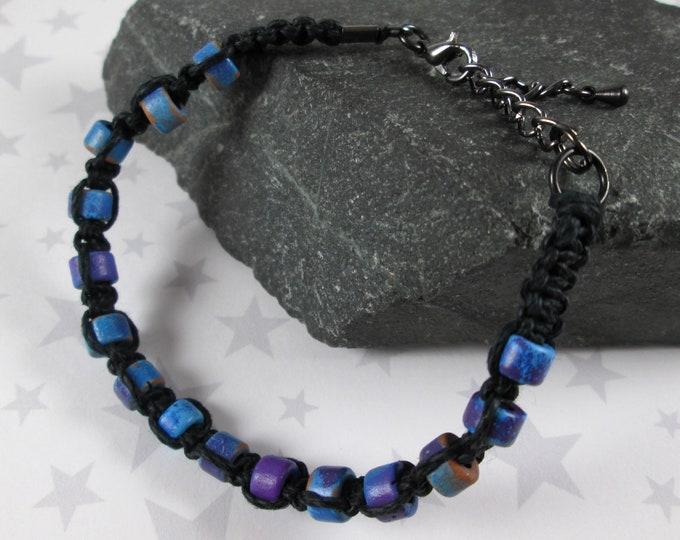 Hemp Bracelet - Blue & Purple - Black - Ceramic Beads