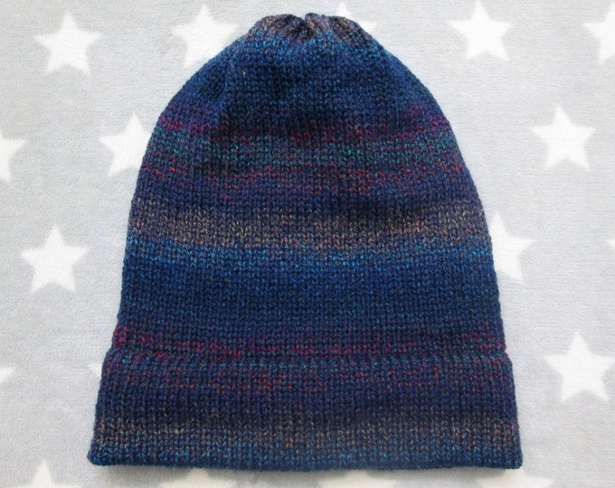 Knit Hat - Gradient - Navy Blue and Colors - Slouchy Beanie