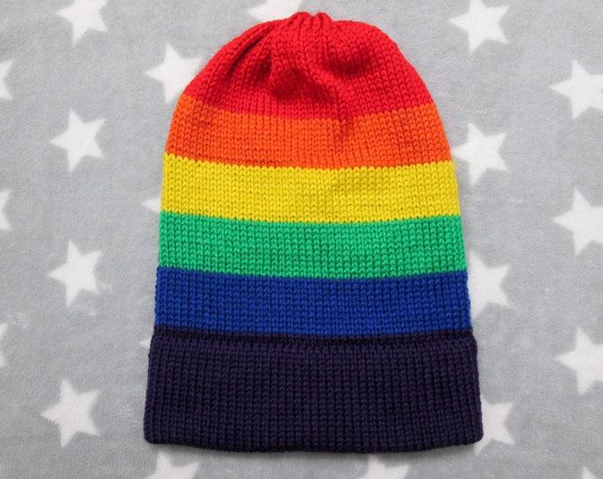 Knit Pride Hat - LGBT Rainbow - Slouchy Beanie - Soft Wool Acrylic Blend