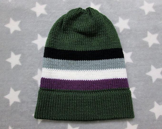 Knit Pride Hat - Ace Pride - Dark Green Slouchy Beanie - Acrylic