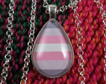 Demigirl Pride - Demigirl Pride Flag Pendant Necklace - Silver Teardrop