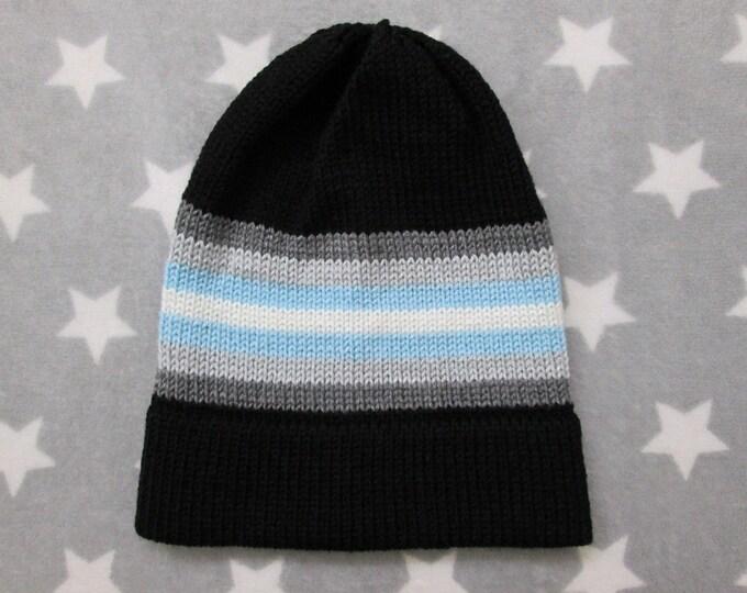 Knit Pride Hat - Demiboy Pride - Black - Slouchy Beanie - Acrylic