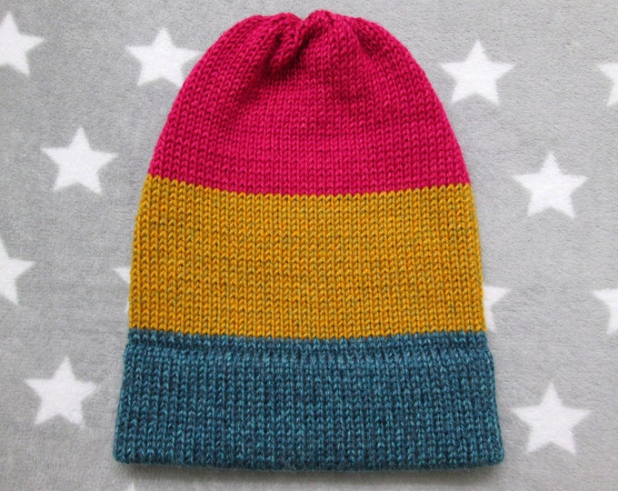 Knit Pride Hat - Pan Pride - Heathered - Slouchy Beanie - Acrylic