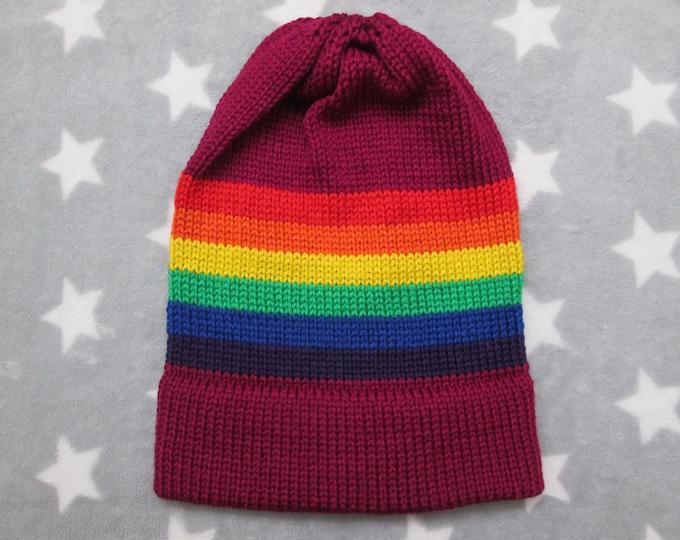 Knit Pride Hat - LGBT Rainbow - Magenta Purple - Slouchy Beanie - Soft Wool Acrylic Blend