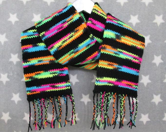 Knit Scarf - City Lights Neon Stripes - Acrylic