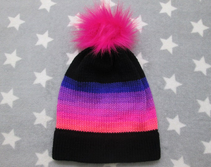 Knit Hat - Pink Neon Sunset - Black - Slouchy Beanie with Pom-Pom