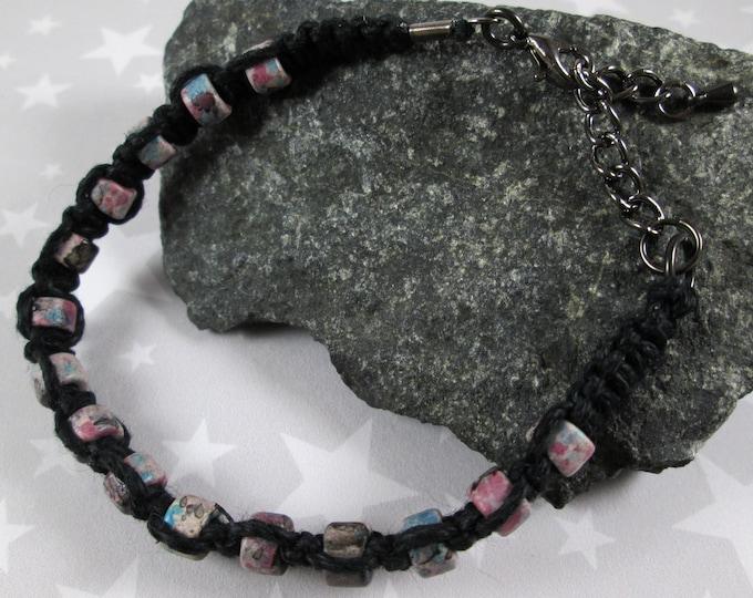 Hemp Bracelet - Blue Pink Splatter - Black - Ceramic Beads
