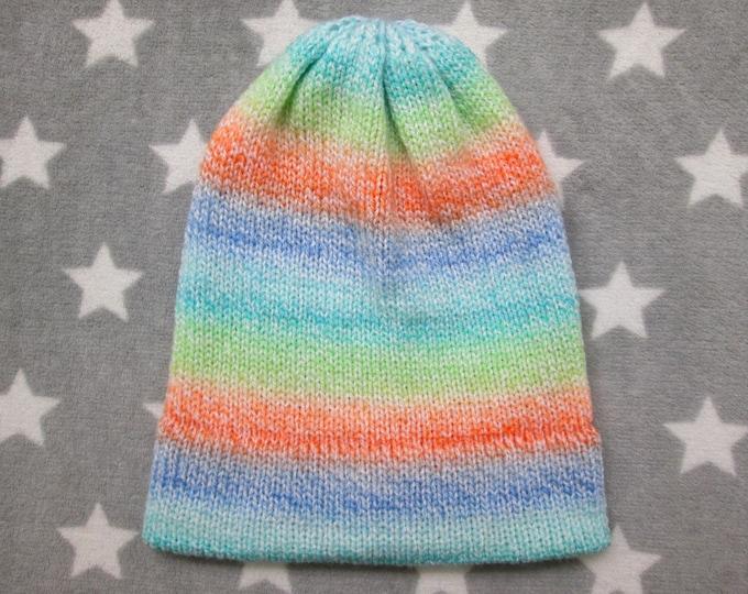 Knit Hat - Pastel Gradient - Blue Orange Green Teal - Slouchy Beanie - Acrylic