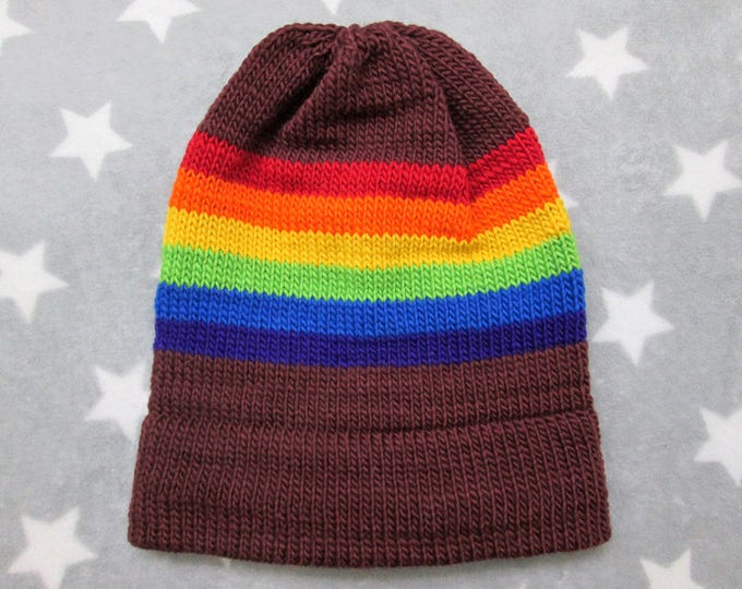 Knit Pride Hat - LGBT Rainbow - Brown Wool Mohair Beanie