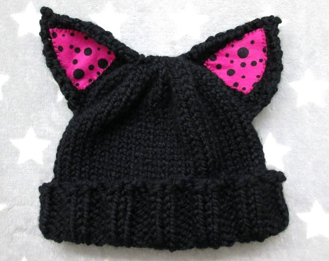 Cat Hat - Black - Pink Polka-Dot Ears - Acrylic Wool Blend