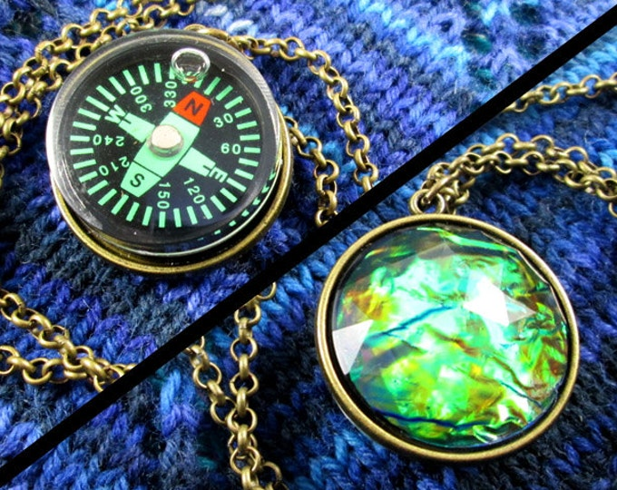 Double-Sided Compass Necklace - Dark Compass, Faux Fire Opal, Bronze