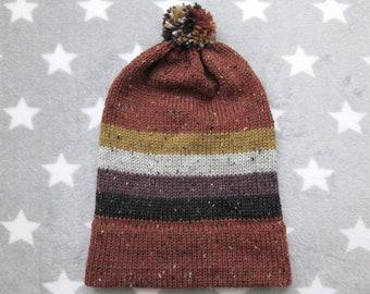 Knit Pride Hat - Nonbinary Pride - Orange Wool Tweed - Big Slouchy Beanie