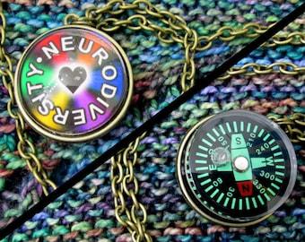 Double-Sided Necklace - Neurodiversity - Compass - Dark Rainbow & Heart