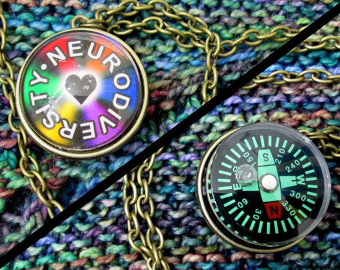 Double-Sided Necklace - Neurodiversity - Compass - Dark Rainbow & Heart