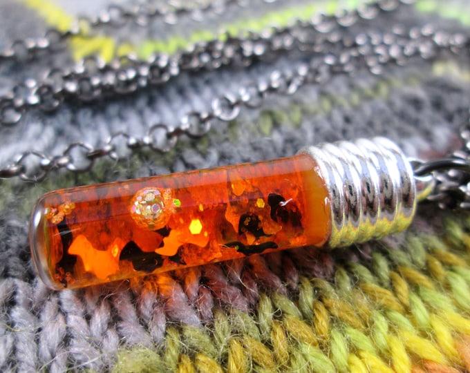 Glitter Liquid Necklace - Halloween Spooky Orange Bats - Silver Vial with Gunmetal Chain