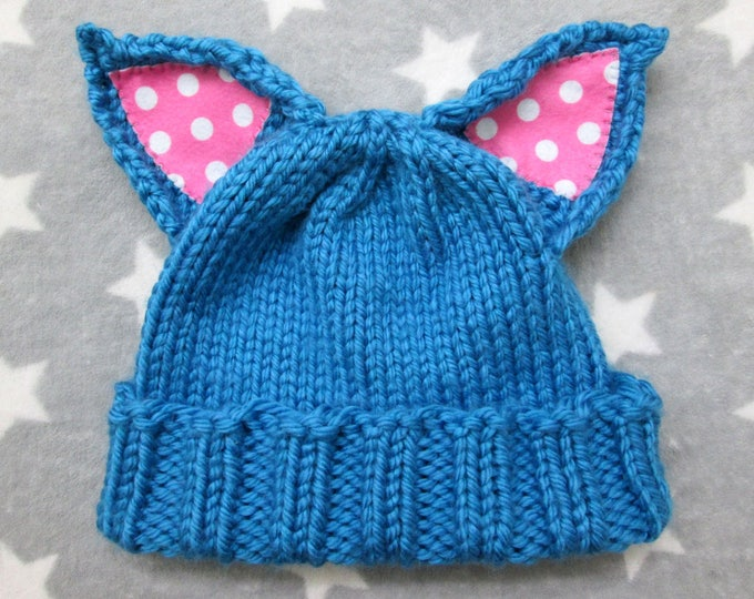 Cat Hat - Blue - Pink Polka Dot Ears - Acrylic