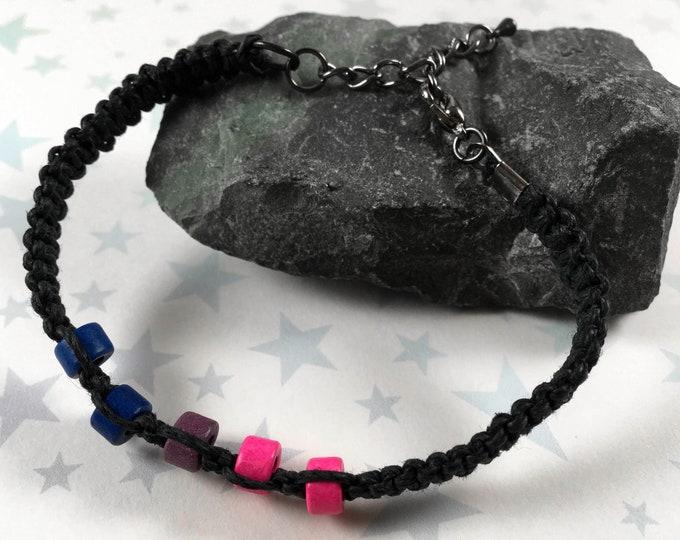 Hemp Pride Bracelet - Bisexual Pride - Black - Ceramic Beads
