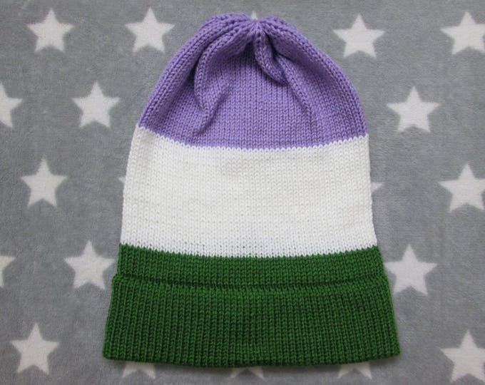 Knit Pride Hat - Genderqueer Pride - Slouchy Beanie
