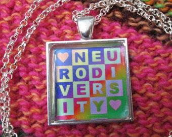 Neurodiversity Necklace - Light Rainbow - Square Checker Design - Rolo Chain