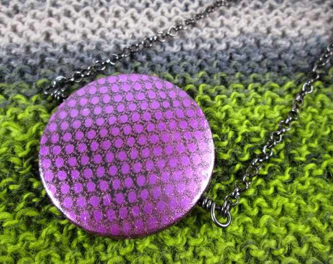 Spinner Pendant Necklace - Purple Metallic - Long Chain
