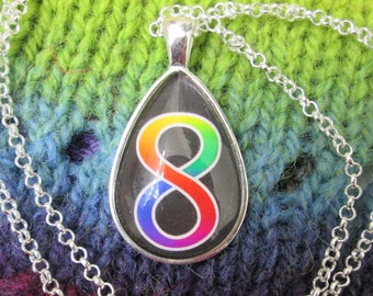 Neurodiversity Pride - Rainbow Infinity Pendant Necklace - Silver Teardrop