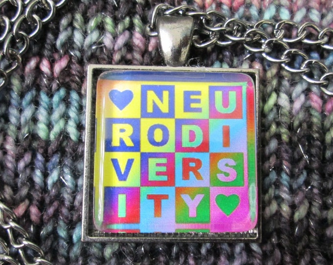 Neurodiversity Necklace - Dark Rainbow - Square Checker Design