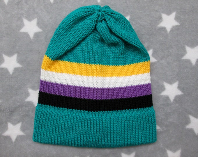 Knit Pride Hat - Nonbinary Pride - Turquoise Slouchy Beanie - Acrylic