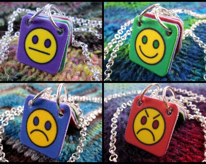 Emoticon Necklace - Mood Smiley Communication Necklace - Silver Rolo Chain
