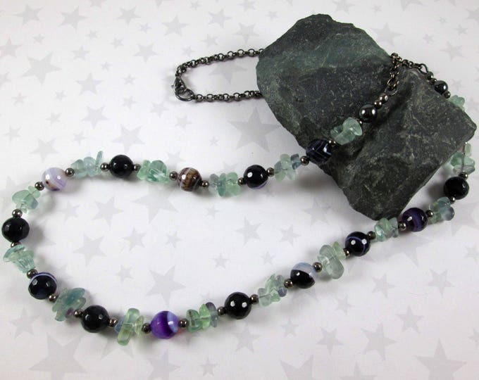 Fluorite & Agate Necklace - Purple Green Black - Hematite and Gunmetal