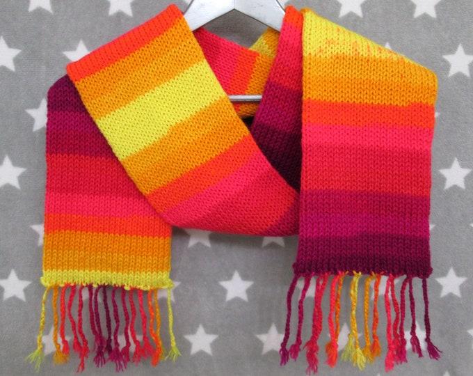 Knit Scarf - Lava Stripe Scarf - Acrylic