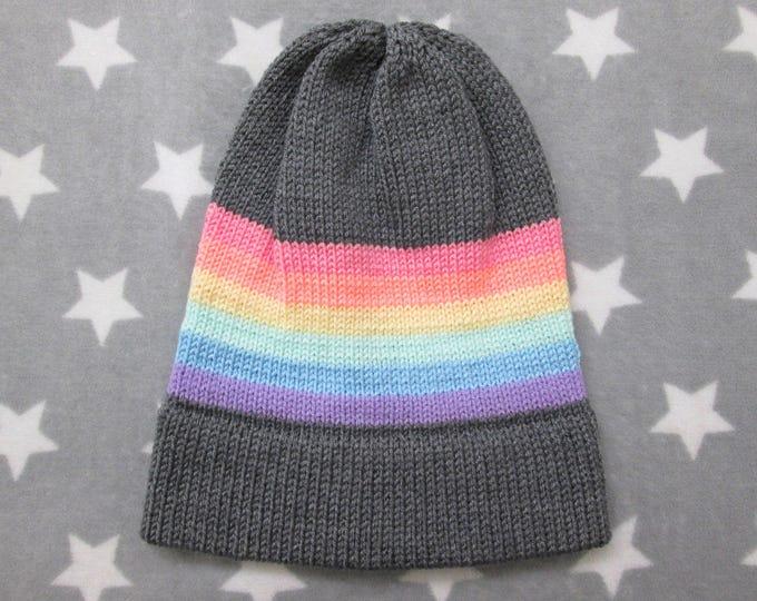 Knit Pride Hat - Pastel LGBT Rainbow - Grey - Slouchy Beanie