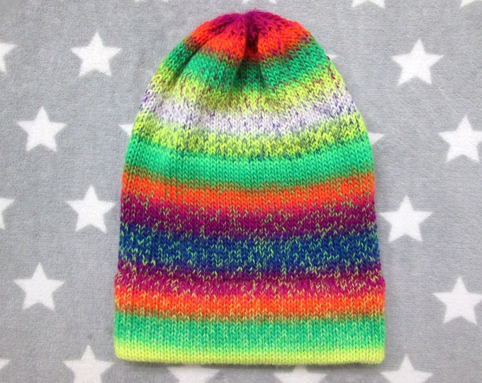 Knit Hat - Neon Chaos - Yellow Green Orange Purple Blue - Slouchy Beanie - Wool Acrylic Blend