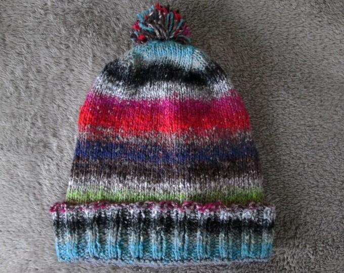 Knit Slouchy Noro Hat - Red Grey Black Purple Green Blue Tan White - Cotton Silk Wool Nylon Blend